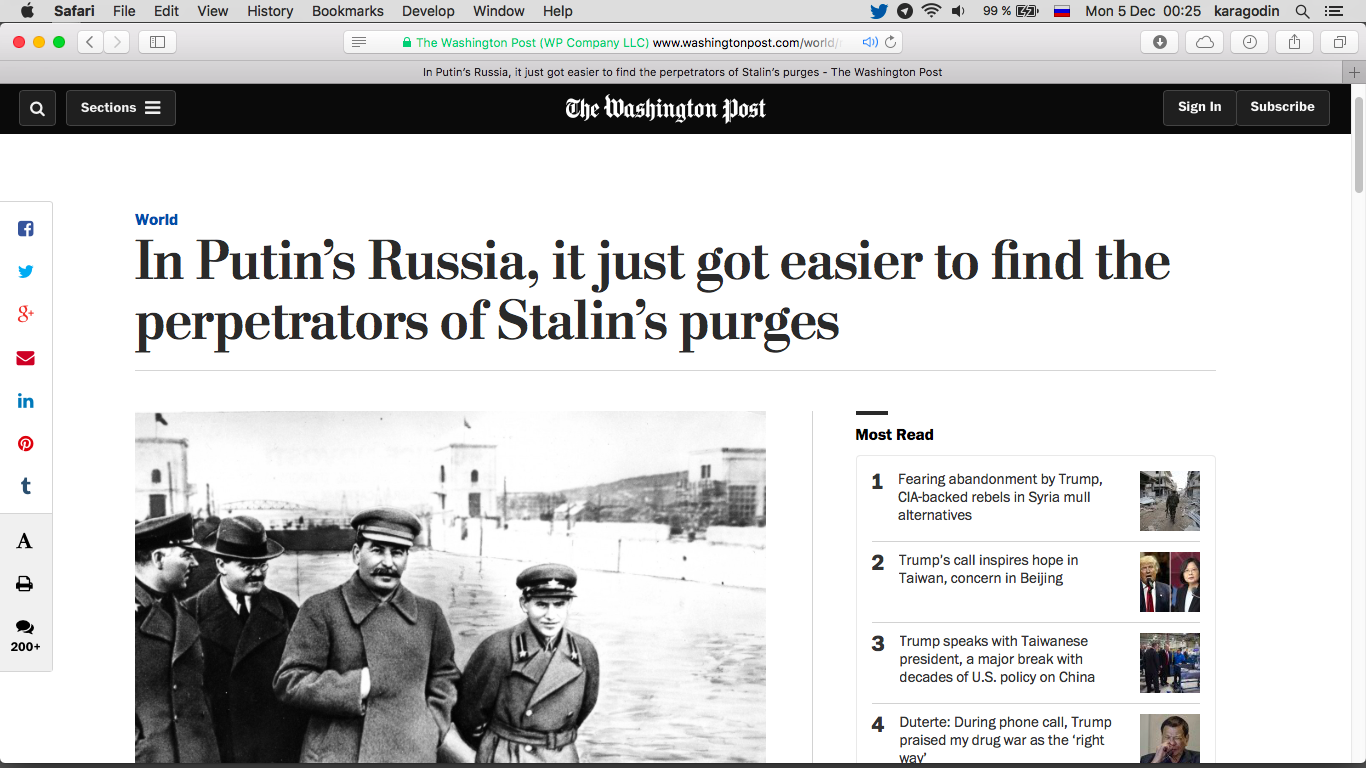 In Putin's Russia, it just got easier to find the perpetrators of Stalin's purges – The Washington Post.