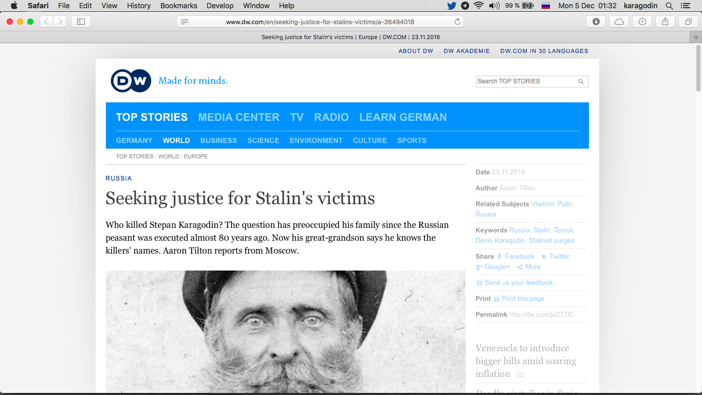 Seeking justice for Stalin's victims Who killed Stepan Karagodin? – DW (Deutsche Welle).